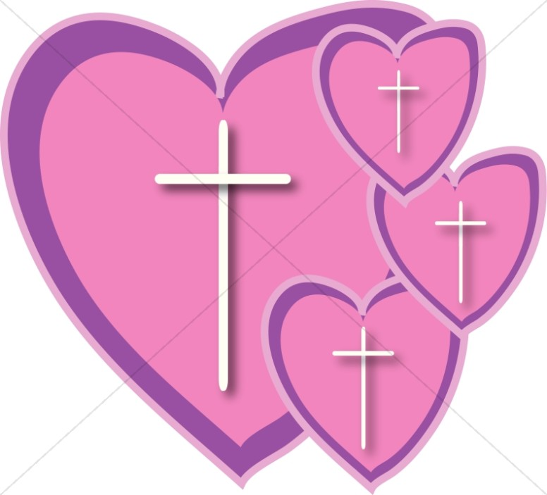 Christ clipart pink cross Christian Four hearts Christian Heart