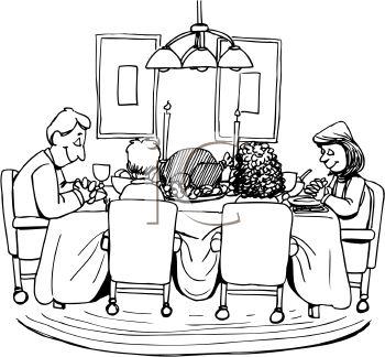 Religious clipart family dinner Dinner dinner black thanksgiving white