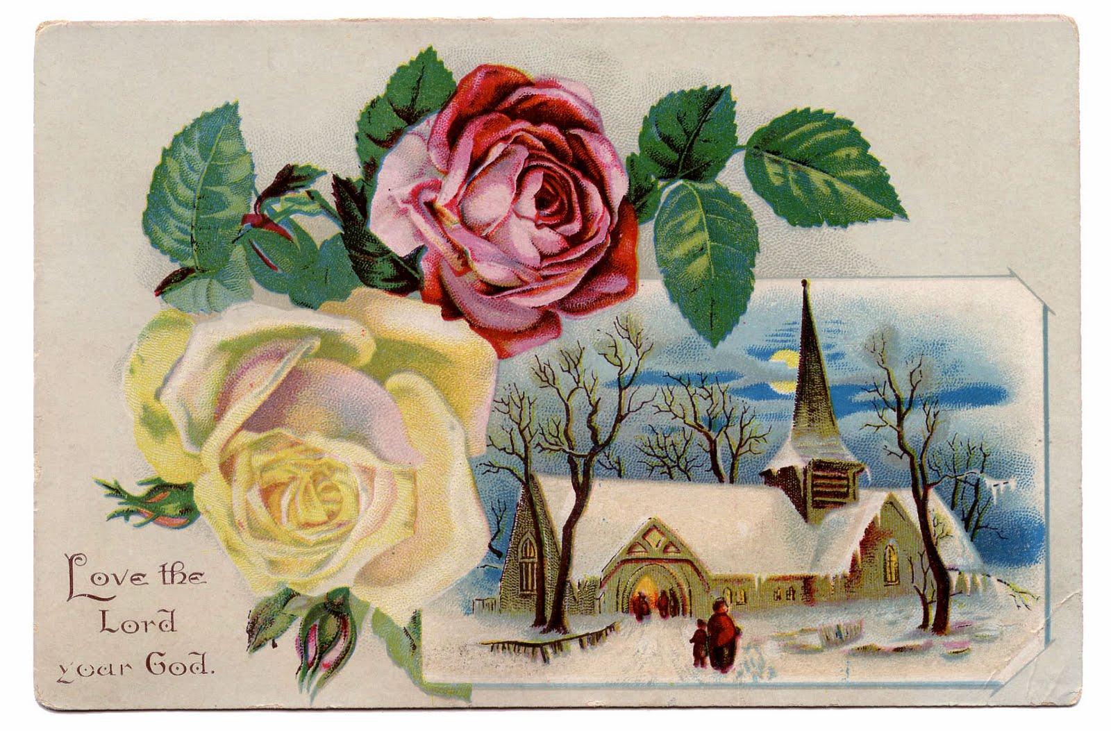 Winter clipart church scene Roses Scene Art Graphics –