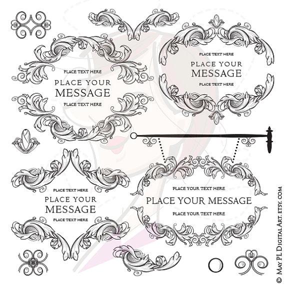 Rennaisance clipart scroll Flourish Vintage Digital VECTOR Signage