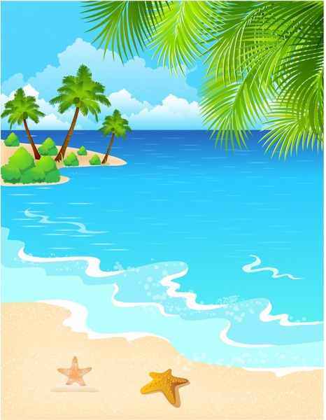 Beach clipart ocean scene Vector Beach download Vector beach