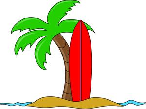 Drawn palm tree surfboard #5