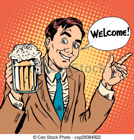 Restaurant clipart welcome Welcome the beer the Illustration