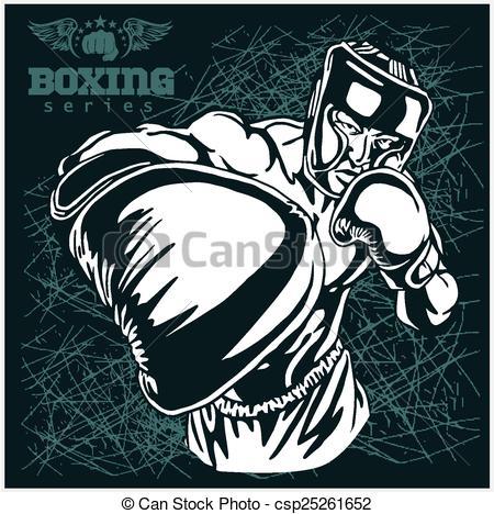 Retro clipart boxer #6