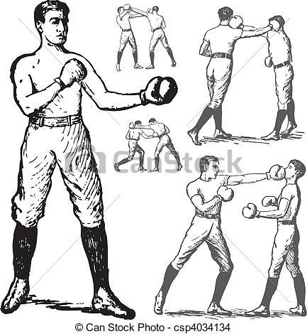 Retro clipart boxer #4