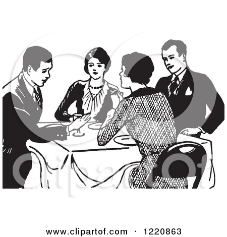 Retro clipart dinner party #10
