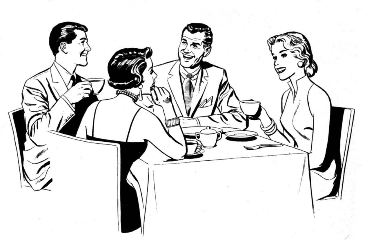 Retro clipart dinner party #12