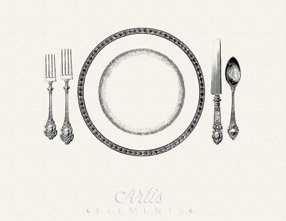 Retro clipart dinner party #14
