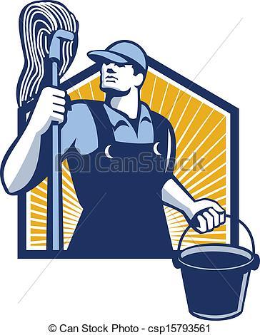 Retro clipart janitor #4