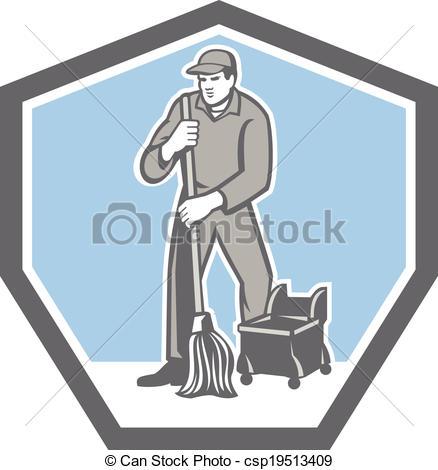 Retro clipart janitor #3