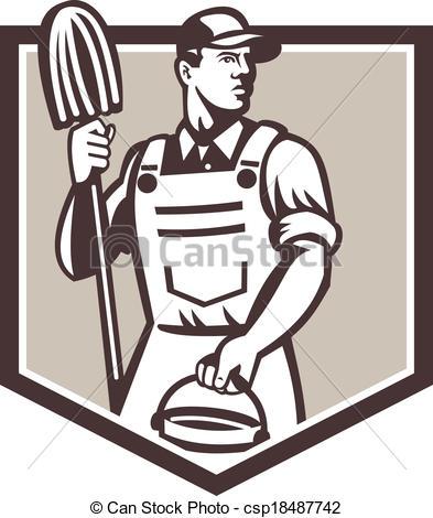 Retro clipart janitor #7