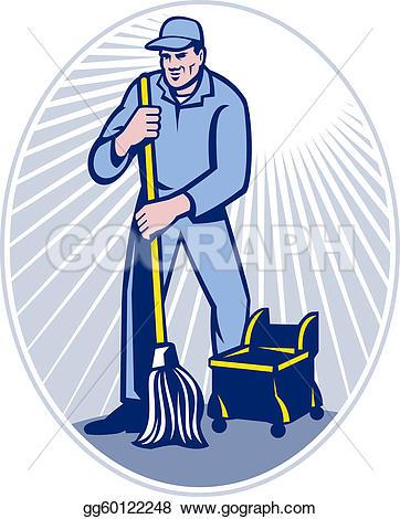 Retro clipart janitor #1