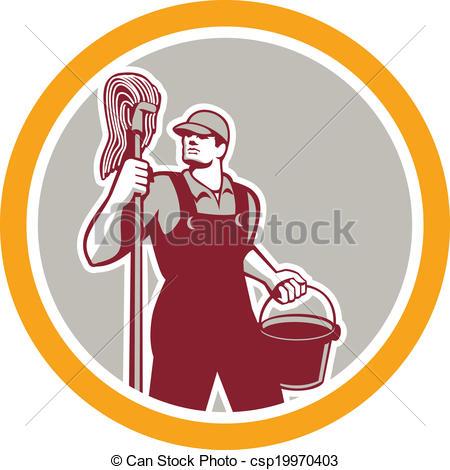 Retro clipart janitor #6