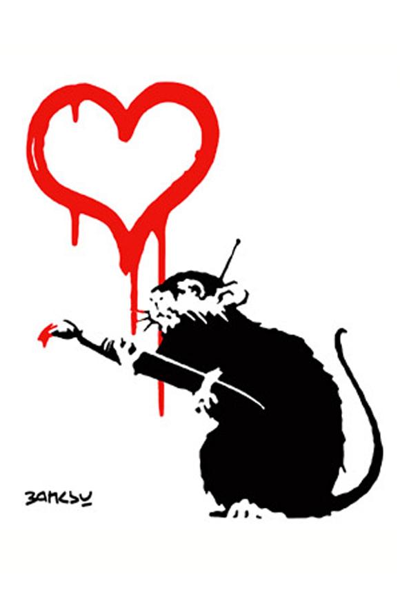 Drawn rat famous Banksy by Love Love Rat