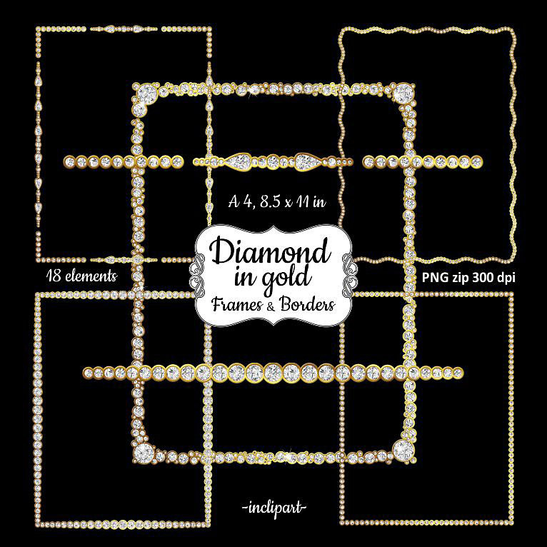 Rhinestone clipart diamond border Page Clipart clipart border Commercial