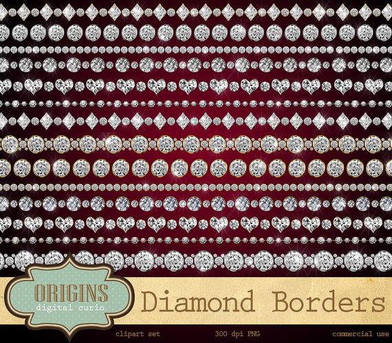 Rhinestone clipart diamond border Bling Borders clipart clipart commercial