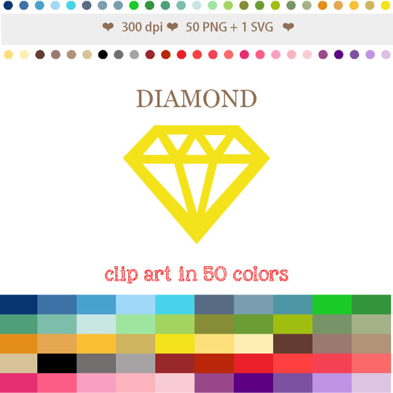 Diamond clipart colorful Use Digital Diamond Gemstone Rhinestone