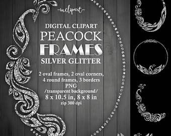 Rhinestone clipart silver frame Printable border clipart frame frames