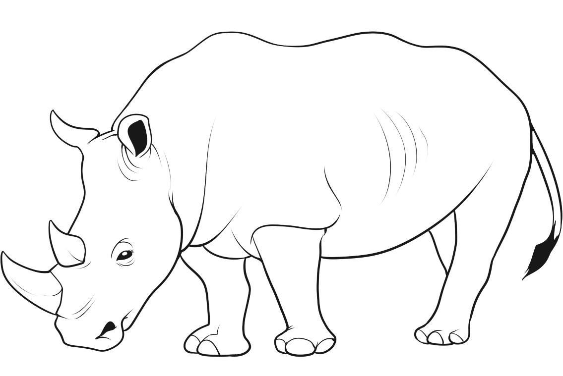 Rhino clipart coloring page #13