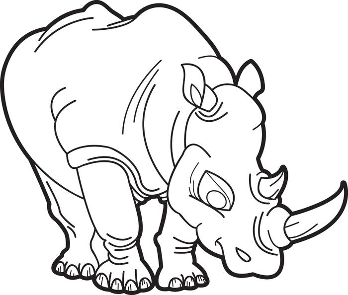 Drawn rhino coloring Version Coloring Pages Page Kids