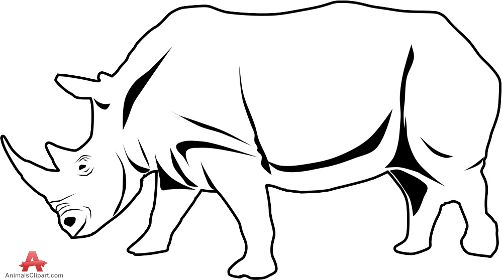 Drawn rhino clipart Rhinoceros Clipart Outline White and