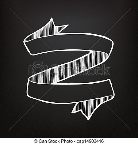 Drawn ribbon chalkboard Clip drawn on Vector csp14903416