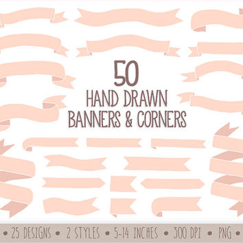 Drawn ribbon clipart Shop Banners on Art Hand