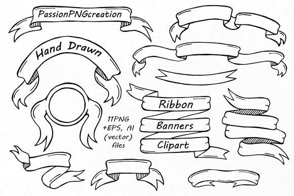 Drawn ribbon clipart Banners Ribbon on Illustrations Hand