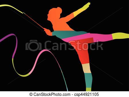 Gymnastics clipart calisthenics Clipart silhouette abstract calisthenics Girl