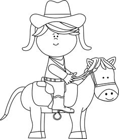 Ride clipart black and white White a Sitting Cowgirl Clip