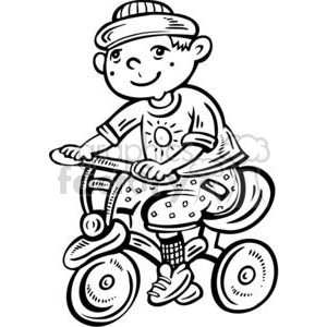 Ride clipart black and white Bike riding Black Ride boy