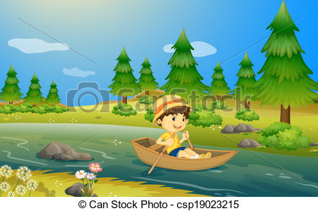 Boat clipart cruise ship Vector boy A a riding
