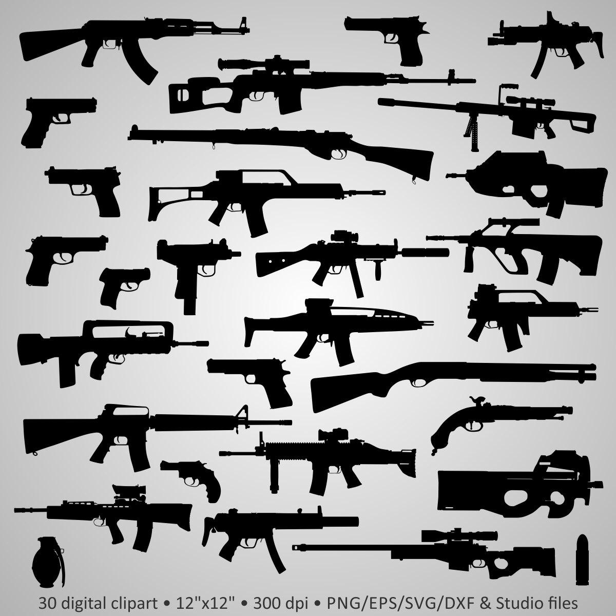 Shotgun clipart barrett 47 Silhouettes Clipart Guns Silhouettes