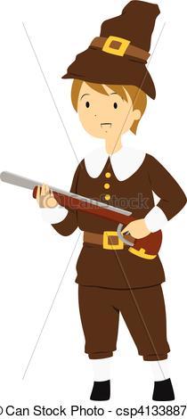 Rifle clipart pilgrim  csp41338871 Illustration Carrying Pilgrim