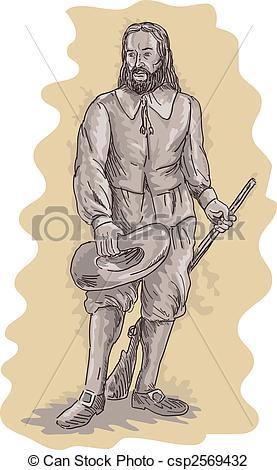 Rifle clipart pilgrim A a holding standing Pilgrim