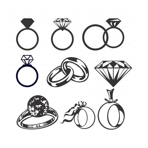 Drawn jewelry diamond ring Wedding Wedding  ai Vectors