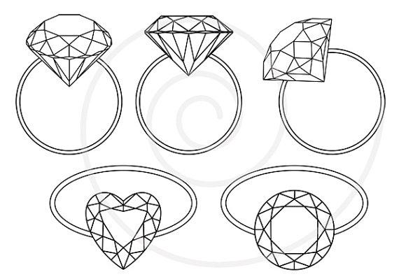 Drawn jewelry engagement ring Digital ring art ring Diamond
