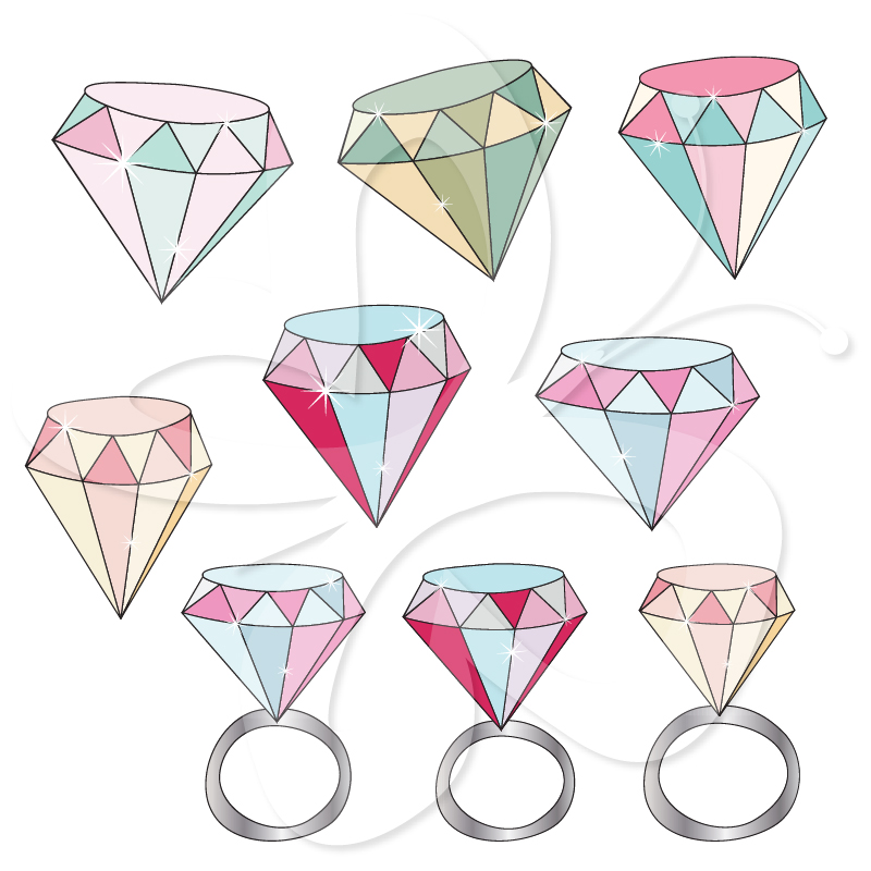 Ring clipart diamond sparkle  #Ring #clipart set #illustration