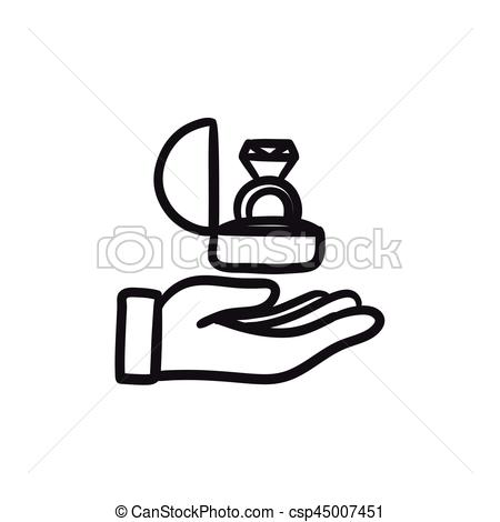 Ring clipart hand holding Gift sketch Hand holding ring