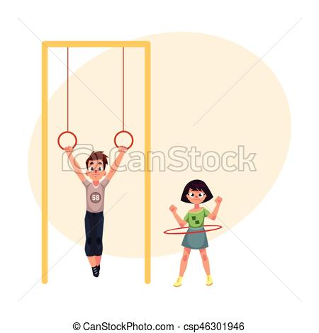 Ring clipart playground Hanging boy Vector on of