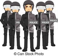 Riot clipart crowded Vector crowds Team special Police