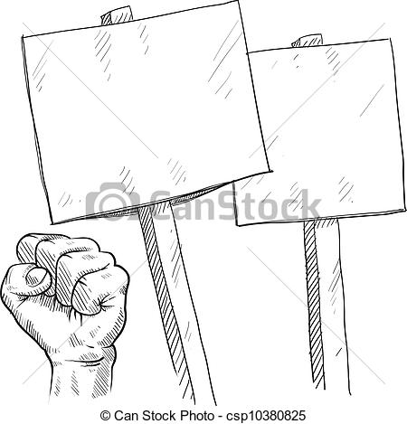 Riot clipart picket sign #8