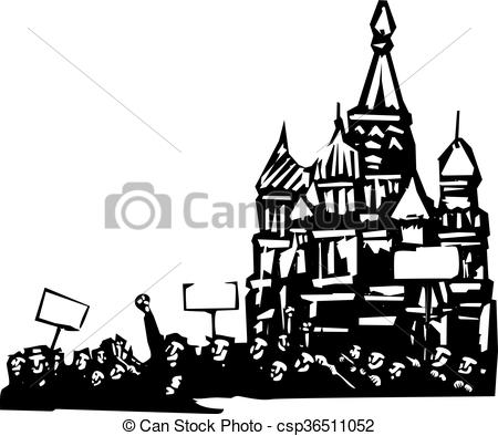 Riot clipart protest Moscow or Woodcut style in