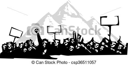 Riot clipart protest Egypt or Woodcut style in