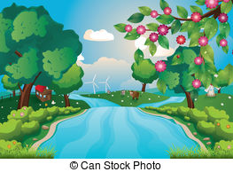 River Landscape clipart vector  and Illustration and 249