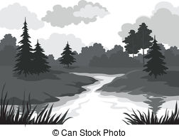 River clipart black and white #12