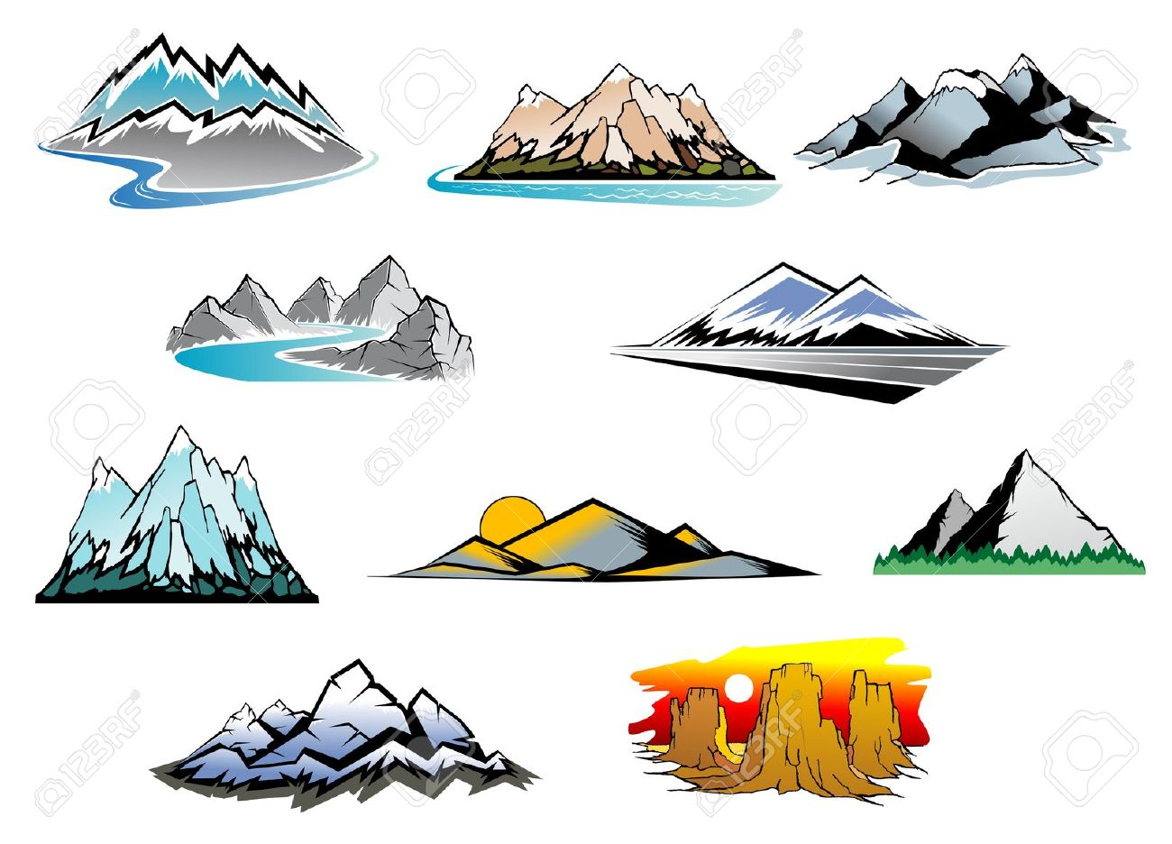 River clipart mountain logo #8