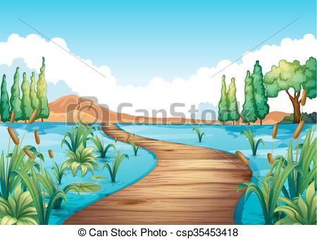 River clipart natural scene Across Nature river Nature scene
