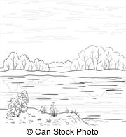 River clipart outline #7
