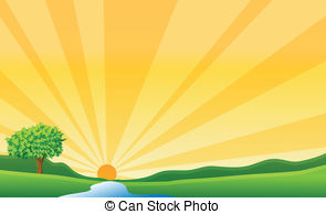 River clipart rolling hills Of sun Can sun Illustrations